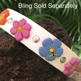 PVC dog collar colored flowers