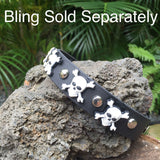 PVC black and white dog collar skull and crossbones
