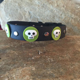 Halloween Collar Green Skulls on Black