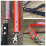 Glossy bright orange reflective leash