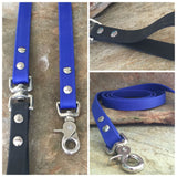 Matte bright blue dual handle leash
