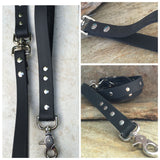 Matte black dual handle leash