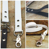 Matte white dual handle leash