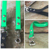 Glossy bright green dual handle leash