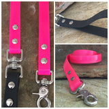 Glossy bright pink dual handle leash