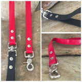 Glossy bright red dual handle leash