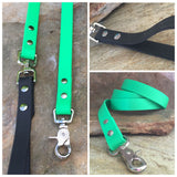 Matte bright green dual handle leash