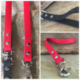 Matte bright red dual handle leash