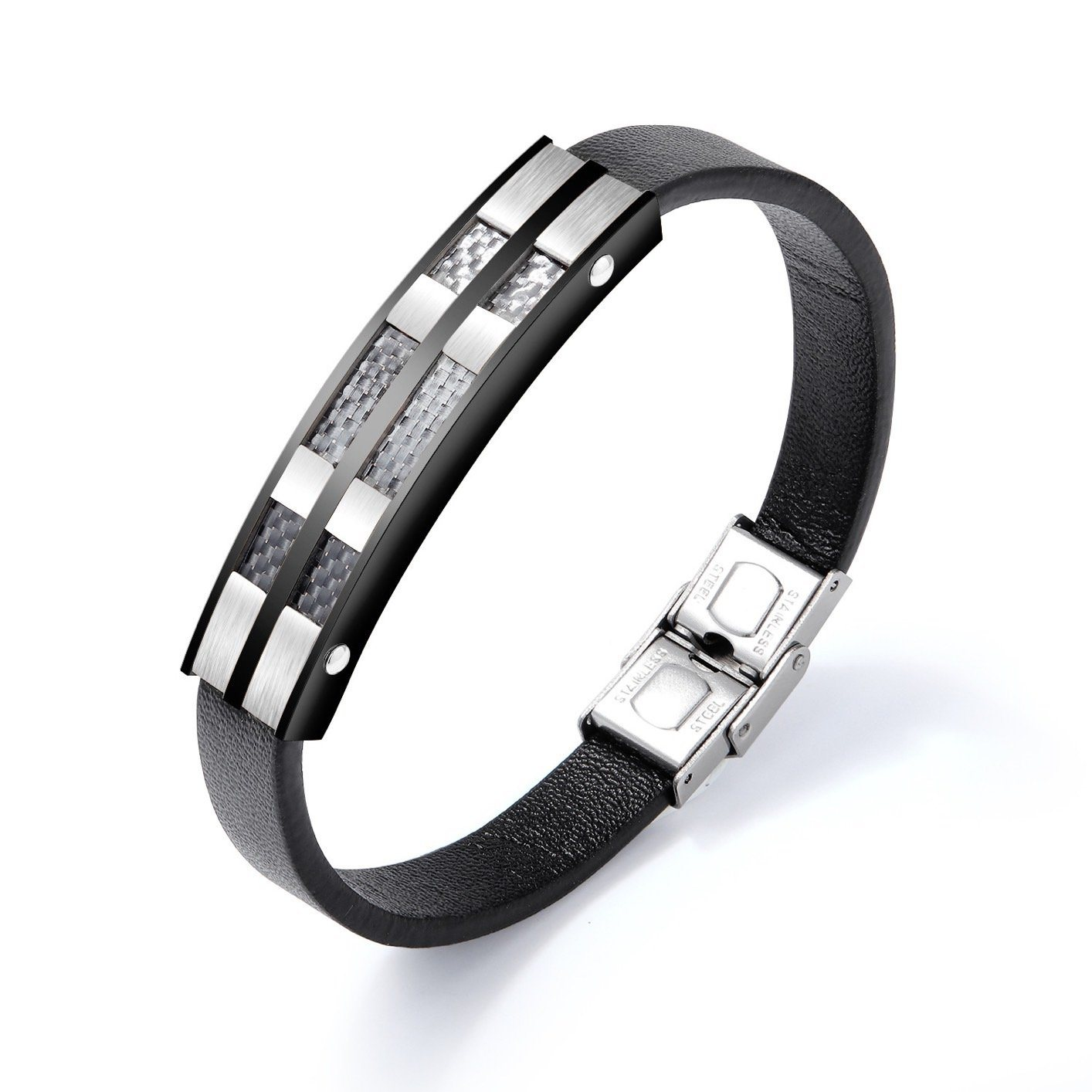 Leather Bracelet With Real Carbon Fiber Inlay Pur Carbon