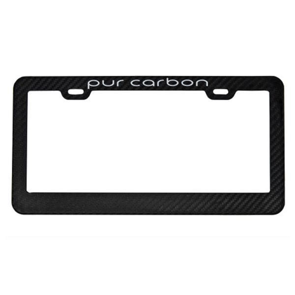 Matte Carbon Fiber License Plate Frame |Purcarbon Logo