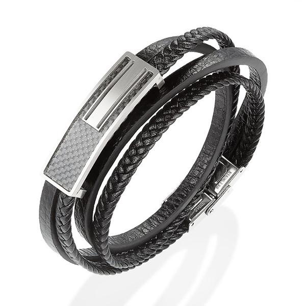 Wrap Leather Bracelet With Real Carbon Fiber
