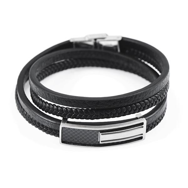 Wrap Leather Bracelet With Real Carbon Fiber Pur Carbon