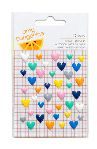 Stickers - Amy Tangerine, Finders Keepers, Enamel Hearts - KEY Handmade