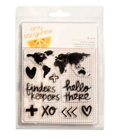 Stamps - Amy Tangerine, Finders Keepers, Acrylic - Map - KEY Handmade