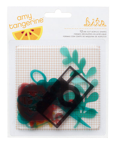 Embellishments - Amy Tangerine, Stitched, Acrylic Shapes - KEY Handmade