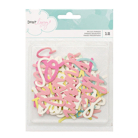 Embellishments - Dear Lizzy, Happy Place, Watercolor Die-Cut Phrases - KEY Handmade