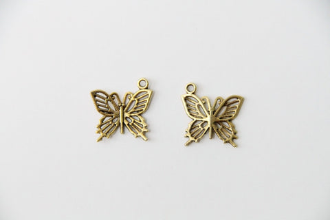 Charm - Butterfly, Antique Gold - KEY Handmade  - 1