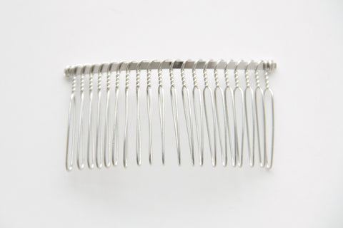 Hair Comb - 20 teeth, Metal, Silver - KEY Handmade  - 1