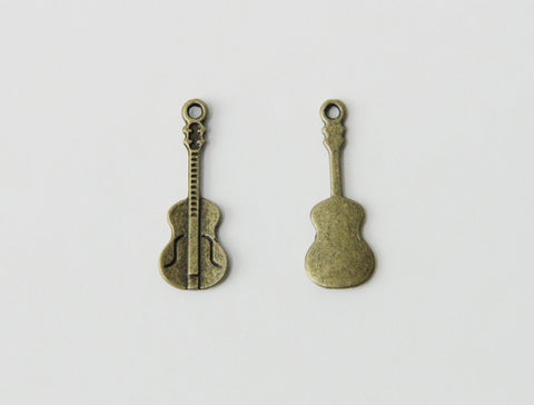 Charm - Violin, Antique Brass - KEY Handmade  - 1