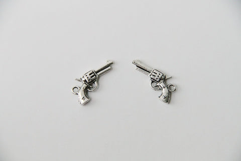 Charm - Gun, Antique Silver - KEY Handmade  - 1