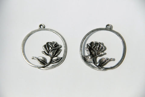 Charm - Rose, Antique Silver - KEY Handmade  - 1