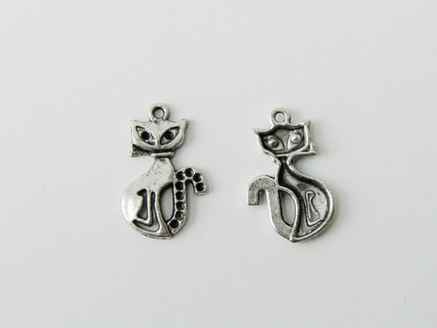 Charm - Cat, Antique Silver - KEY Handmade  - 1