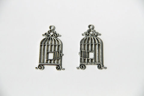 Charm - Bird Cage, Antique Silver - KEY Handmade  - 1