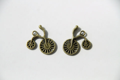 Charm - Bicycle, Antique Brass - KEY Handmade  - 1