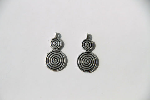 Charm - Swirl, Antique Silver - KEY Handmade  - 1