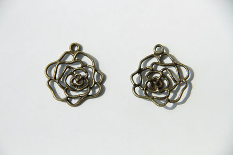 Charm - Rose, Antique Brass - KEY Handmade  - 1
