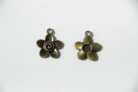 Charm - Flower, Antique Brass - KEY Handmade  - 1