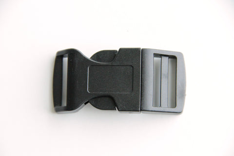 Side Press Release Curved Buckle - 1 inch, Plastic Heavy Duty, Black - KEY Handmade  - 1