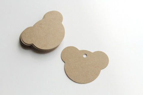 Paper Tag - Teddy Bear Shape - KEY Handmade  - 1