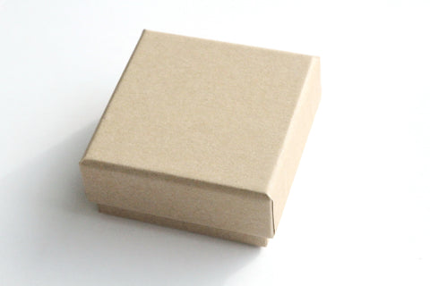 Kraft Box - Base and Lid, 6.5cm x 6.5cm x 3cm - KEY Handmade  - 1