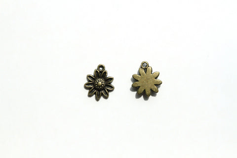 Charm - Sunflower, Antique Brass - KEY Handmade  - 1