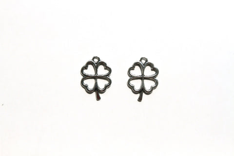 Charm - Four Leaf Clover, Antique Silver - KEY Handmade  - 1