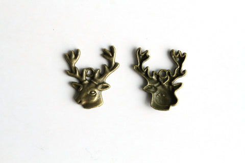 Charm - Reindeer, Antique Brass - KEY Handmade  - 1