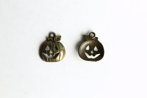 Charm - Halloween Pumpkin, Antique Brass - KEY Handmade  - 1