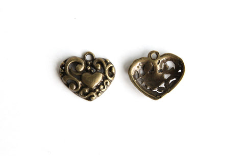 Charm - Heart, Antique Brass - KEY Handmade  - 1