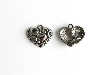 Charm - Heart, Antique Silver - KEY Handmade  - 1