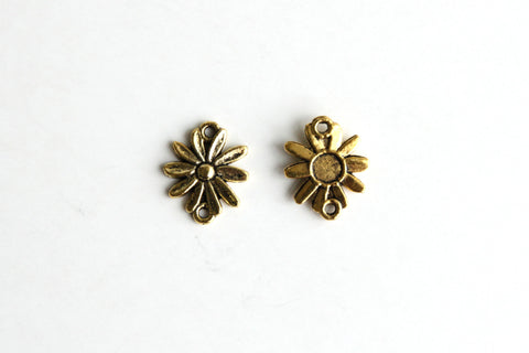Connector - Sun Flower, Antique Gold - KEY Handmade  - 1