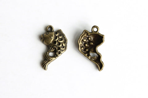 Charm - Koi Fish, Antique Brass - KEY Handmade  - 1