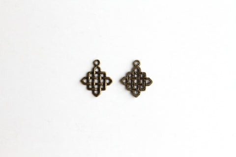 Charm - Chinese Knotting, Antique Brass - KEY Handmade  - 1