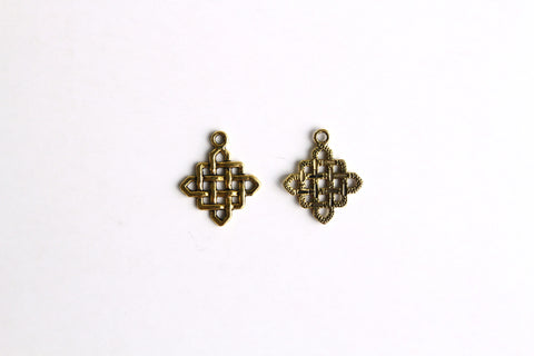Charm - Chinese Knotting, Antique Gold - KEY Handmade  - 1