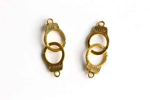 Charm - Handcuffs, Antique Gold - KEY Handmade  - 1