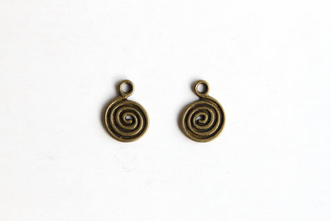 Charm - Swirl, Antique Brass - KEY Handmade  - 1