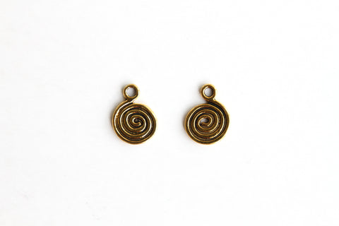 Charm - Swirl, Antique Gold - KEY Handmade  - 1