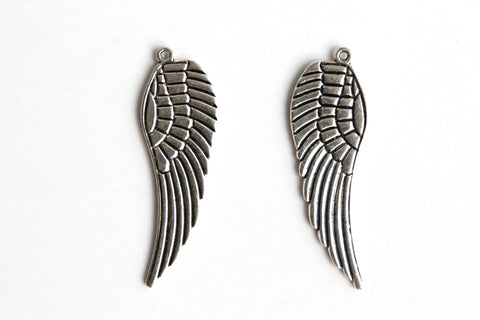 Charm - Feather Wing, Antique Silver - KEY Handmade  - 2