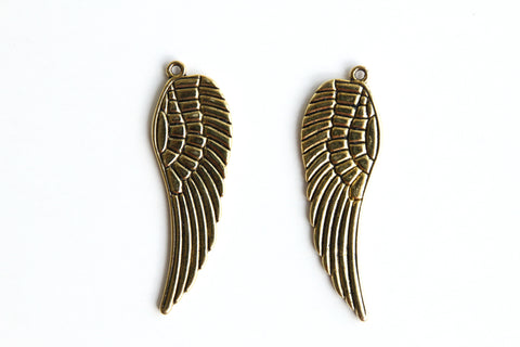 Charm - Feather Wing, Antique Gold - KEY Handmade  - 1