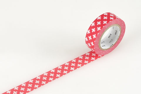 Masking Tape - mt DECO, Cross Carmine, 15mm x 10m - KEY Handmade  - 1